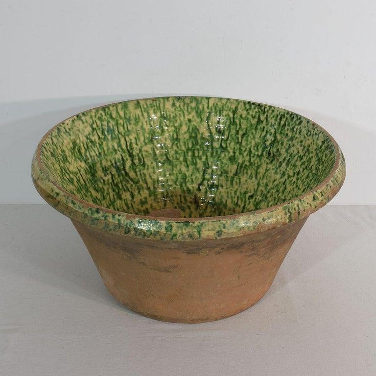 Earthenware 19th Century Italian Glazed Terracotta Dairy Bowl For Sale
