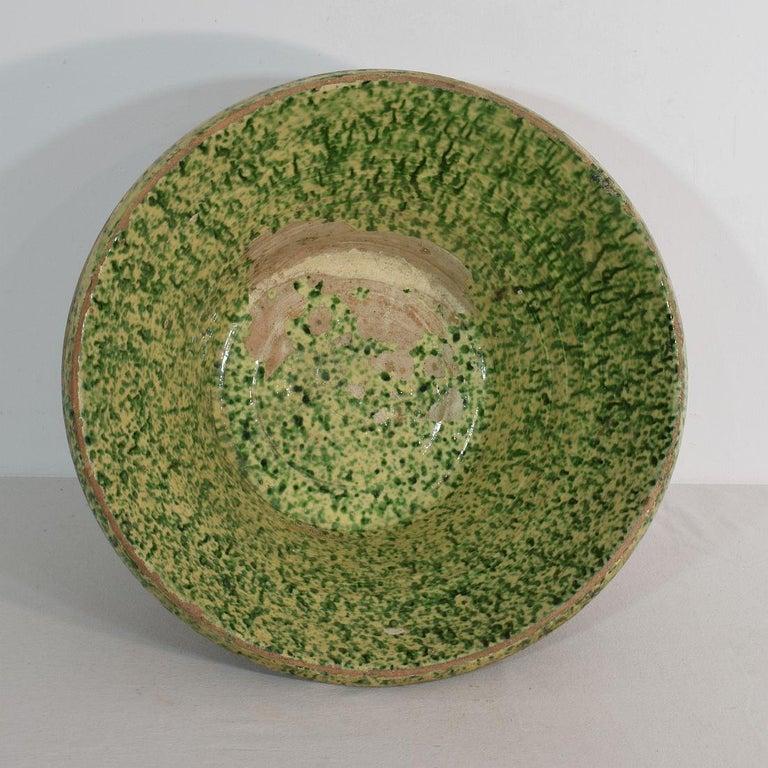 19th Century Italian Glazed Terracotta Dairy Bowl For Sale 1