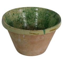 19th Century Italian Glazed Terracotta Dairy Bowl