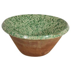 19th Century Italian Glazed Terracotta Dairy Bowl