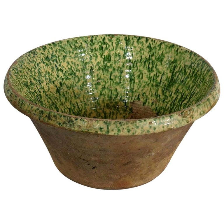 19th Century Italian Glazed Terracotta Dairy Bowl For Sale