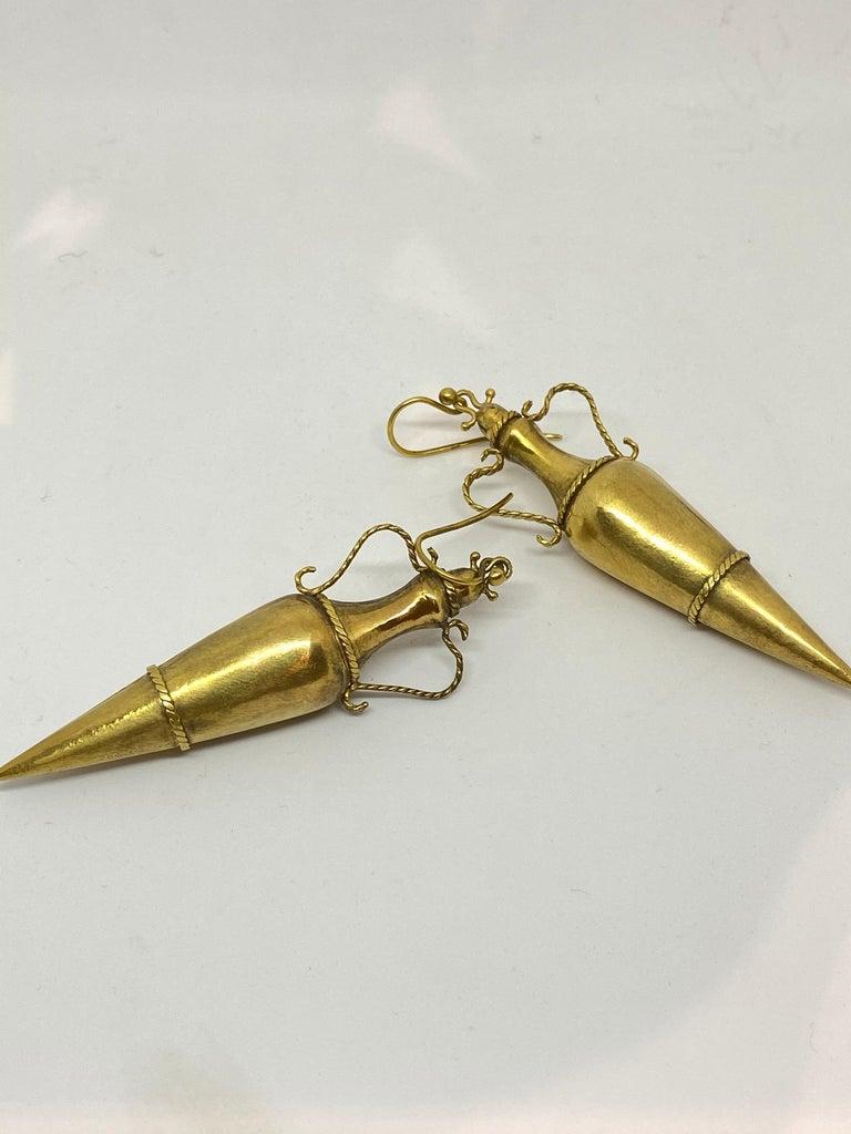 19th Century Italian Yellow Gold Dangle Drop Earrings For Sale 1