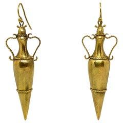 19th Century Italian Yellow Gold Dangle Drop Earrings