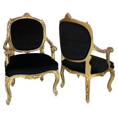 19th Century Italian Gold Giltwood Armchairs from Naples