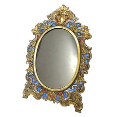 19th Century Picture Frame Italian Sterling Vermeil Blue and Red Enamel