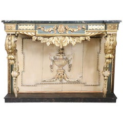 19th Century Italian Golden and Lacquered Wood Large Console Table