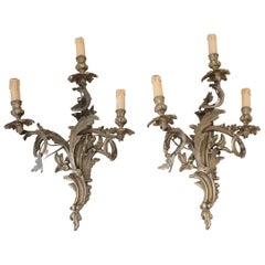 19th Century Italian Golden Bronze Pair of Wall Lights or Sconces