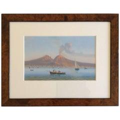 19th Century Italian Gouache of Vesuvius in a Birch Frame
