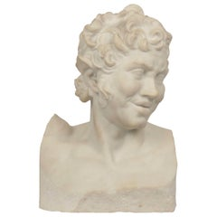 19th Century Italian Grand Tour Antique Carved Marble Bust of a Satyr