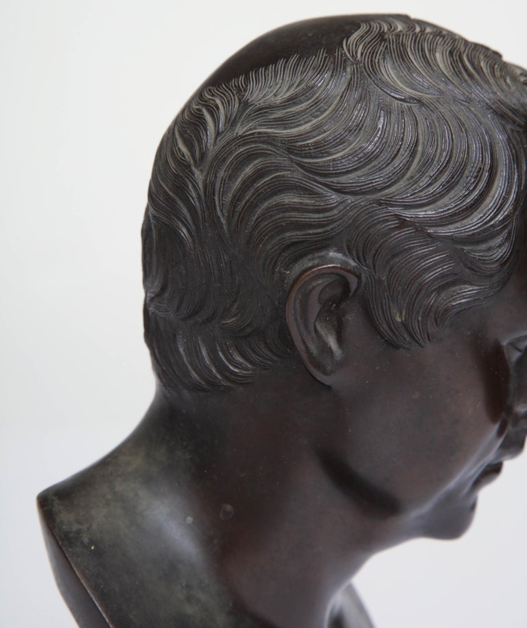19th Century Italian Grand Tour Bronze Bust Of Roman