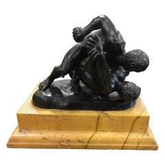 19th Century Italian Grand Tour Bronze Figure Wrestlers yellow Siena Marble 1850