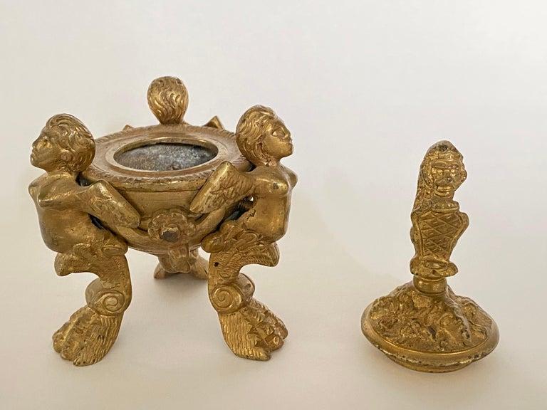 Renaissance Revival 19th Century Italian Grand Tour Bronze Inkwell For Sale