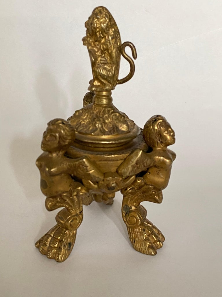 Cast 19th Century Italian Grand Tour Bronze Inkwell For Sale