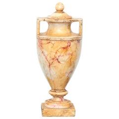 19th Century Italian Grand Tour Carved Alabaster Urn Vase