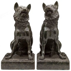 """19th Century Italian Grand Tour """"Jennings Dog"""" Carved Marble Bookends"""