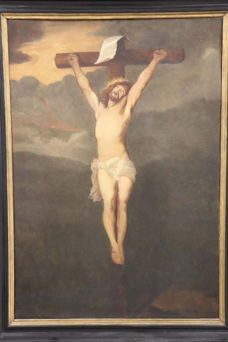 Oiled 19th Century Italian Great Oil Painting on Canvas Crucifixion of Jesus For Sale