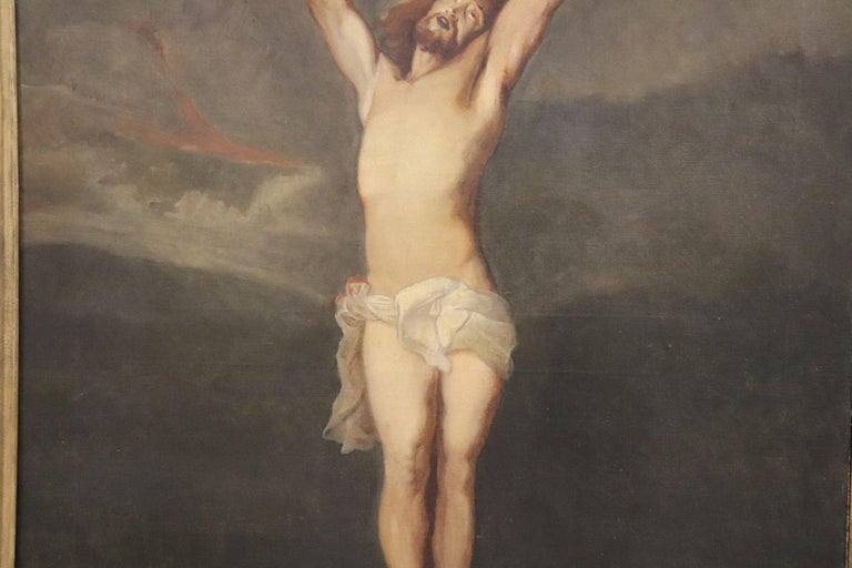 19th Century Italian Great Oil Painting on Canvas Crucifixion of Jesus In Excellent Condition For Sale In Bosco Marengo, IT