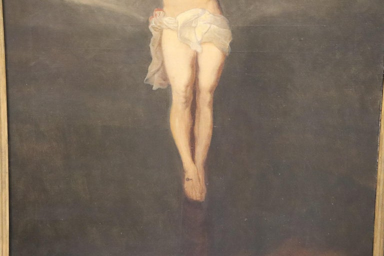 Late 19th Century 19th Century Italian Great Oil Painting on Canvas Crucifixion of Jesus For Sale