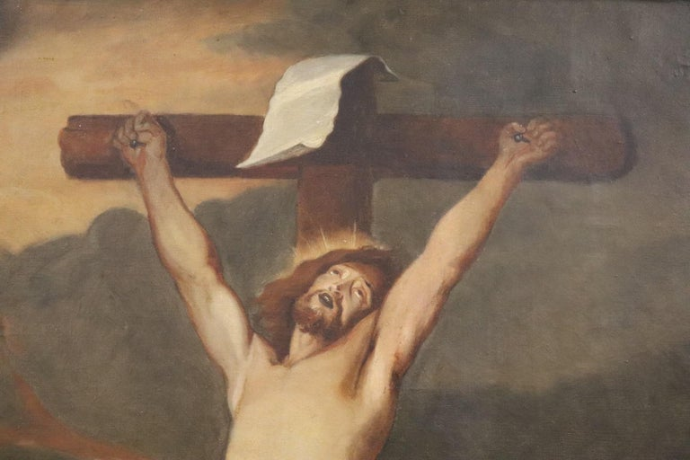 19th Century Italian Great Oil Painting on Canvas Crucifixion of Jesus For Sale 1