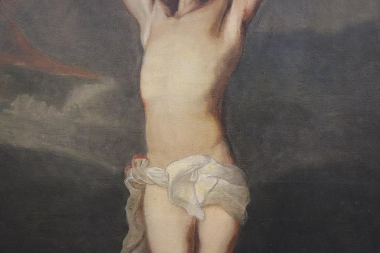 19th Century Italian Great Oil Painting on Canvas Crucifixion of Jesus For Sale 2
