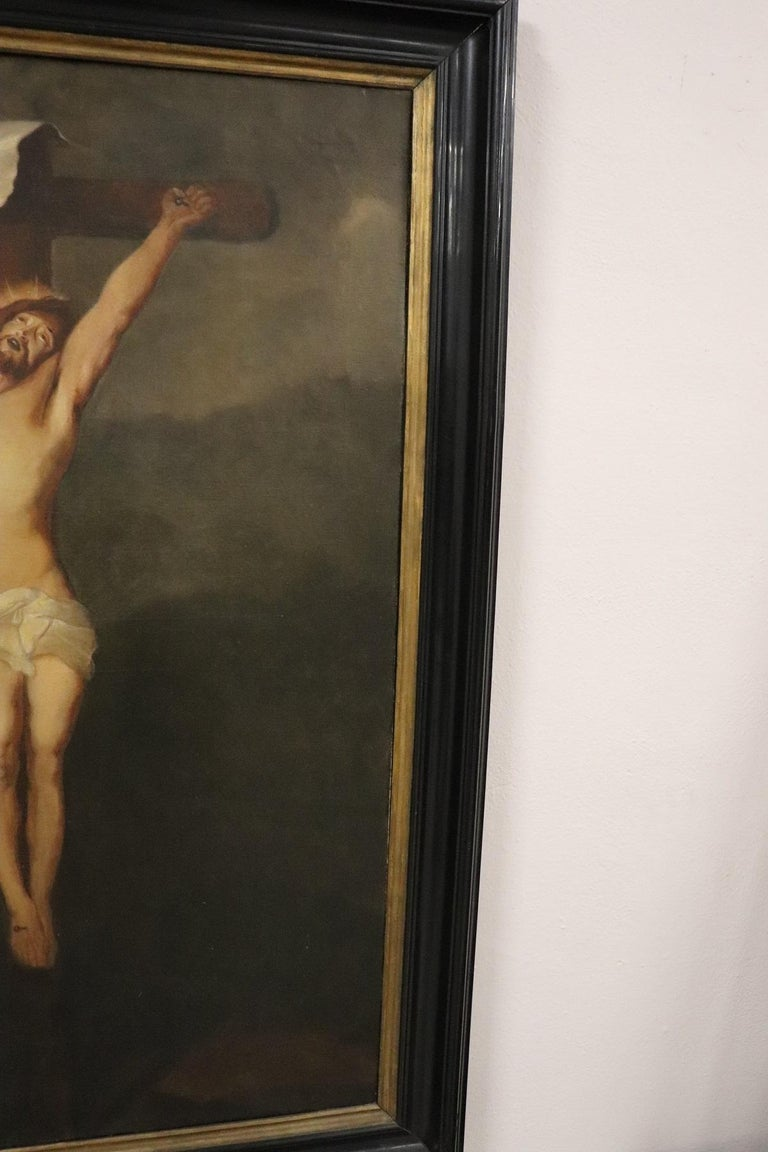 19th Century Italian Great Oil Painting on Canvas Crucifixion of Jesus For Sale 4