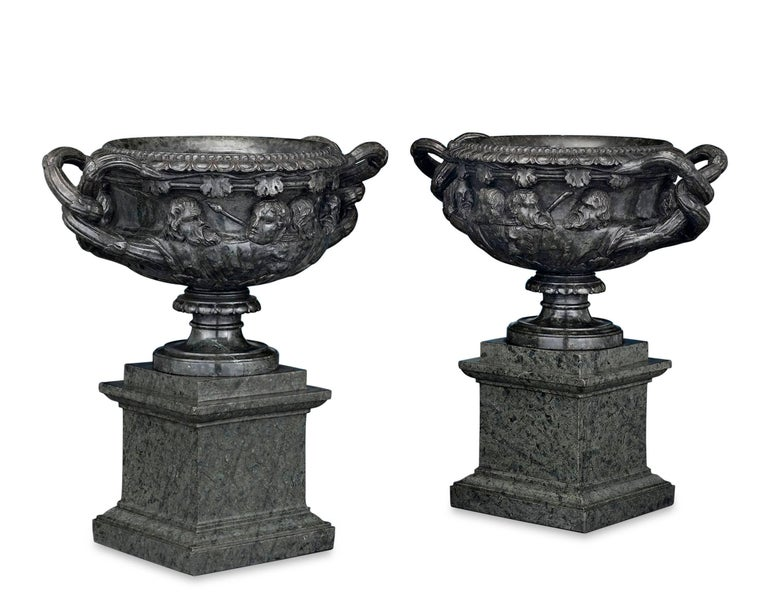 Neoclassical 19th Century Italian Green Marble Warwick Vases For Sale