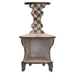 19th Century Italian Grey, Ecru Tuscan Walnut Chair Arte Povera