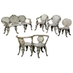 19th Century Italian Grotto Beechwood Silvered Furniture Set
