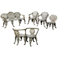 19th Century Italian Grotto Beechwood Silvered Furniture Set