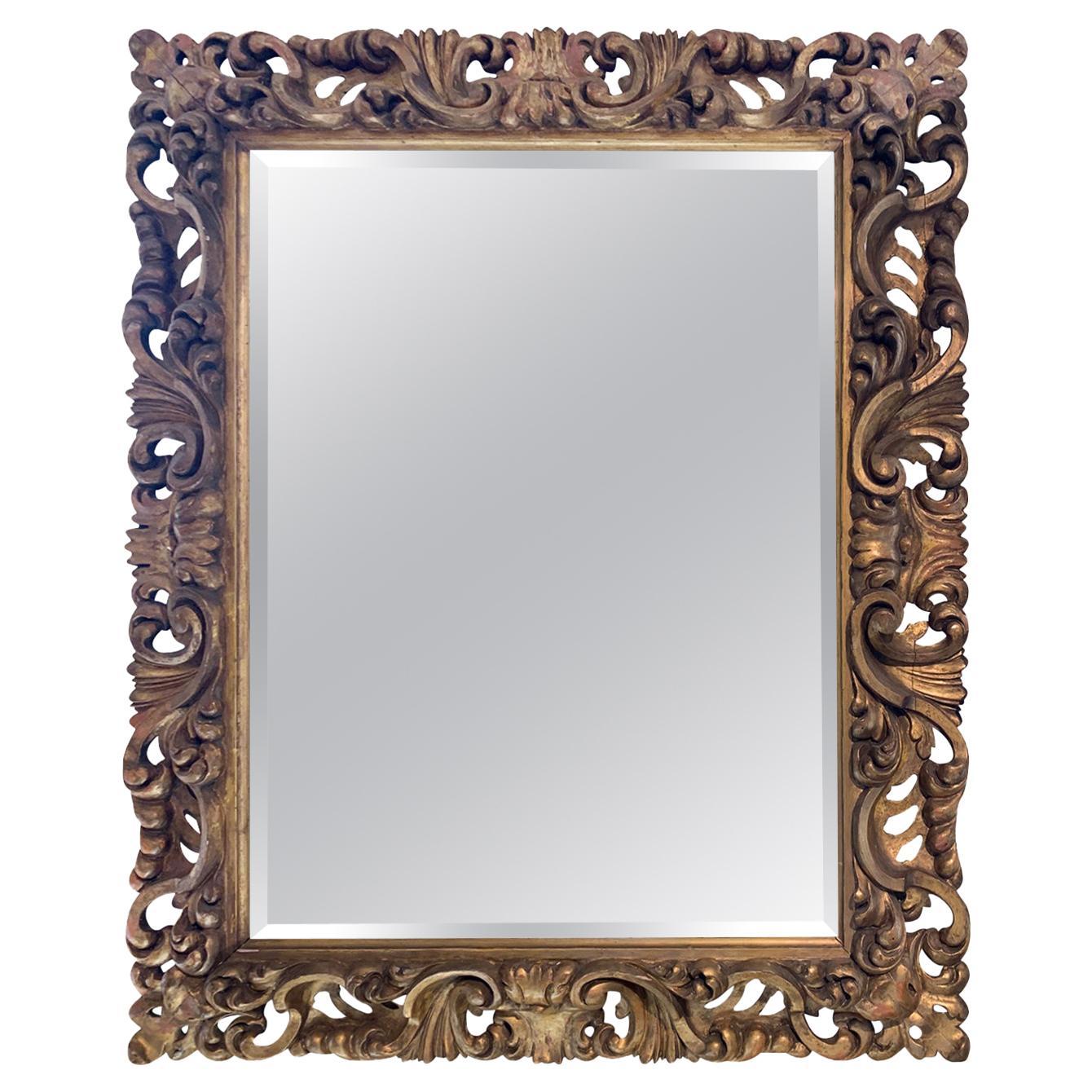 19th Century Italian Hand Carved Giltwood Mirror