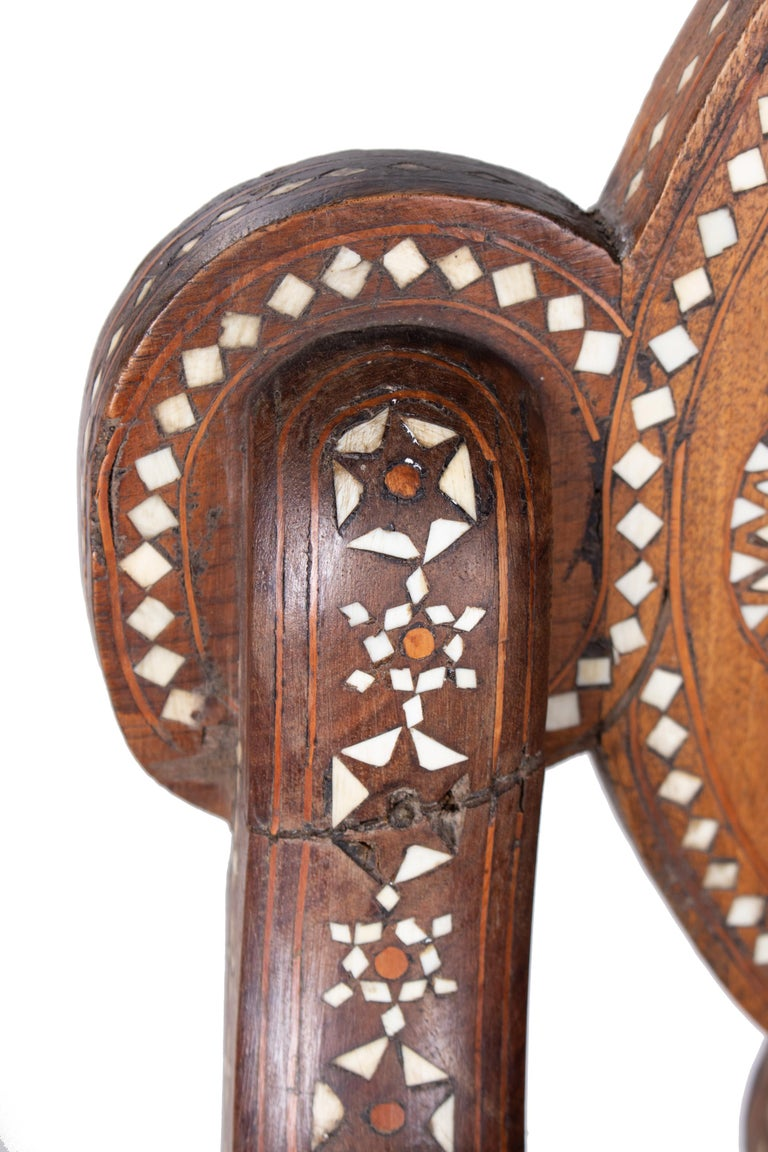 19th Century Italian Hand Carved Inlaid Armchair For Sale 7