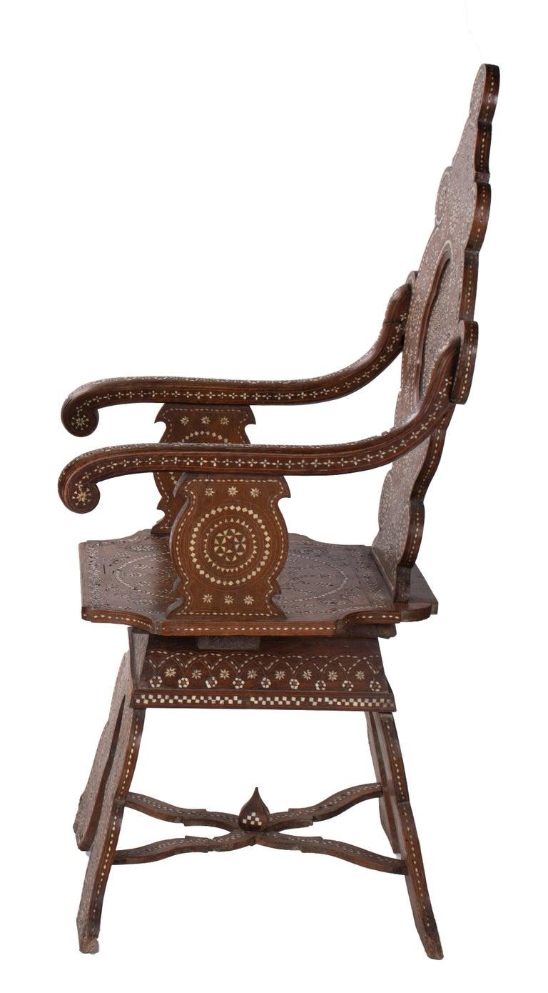 19th century Italian hand carved inlaid armchair.