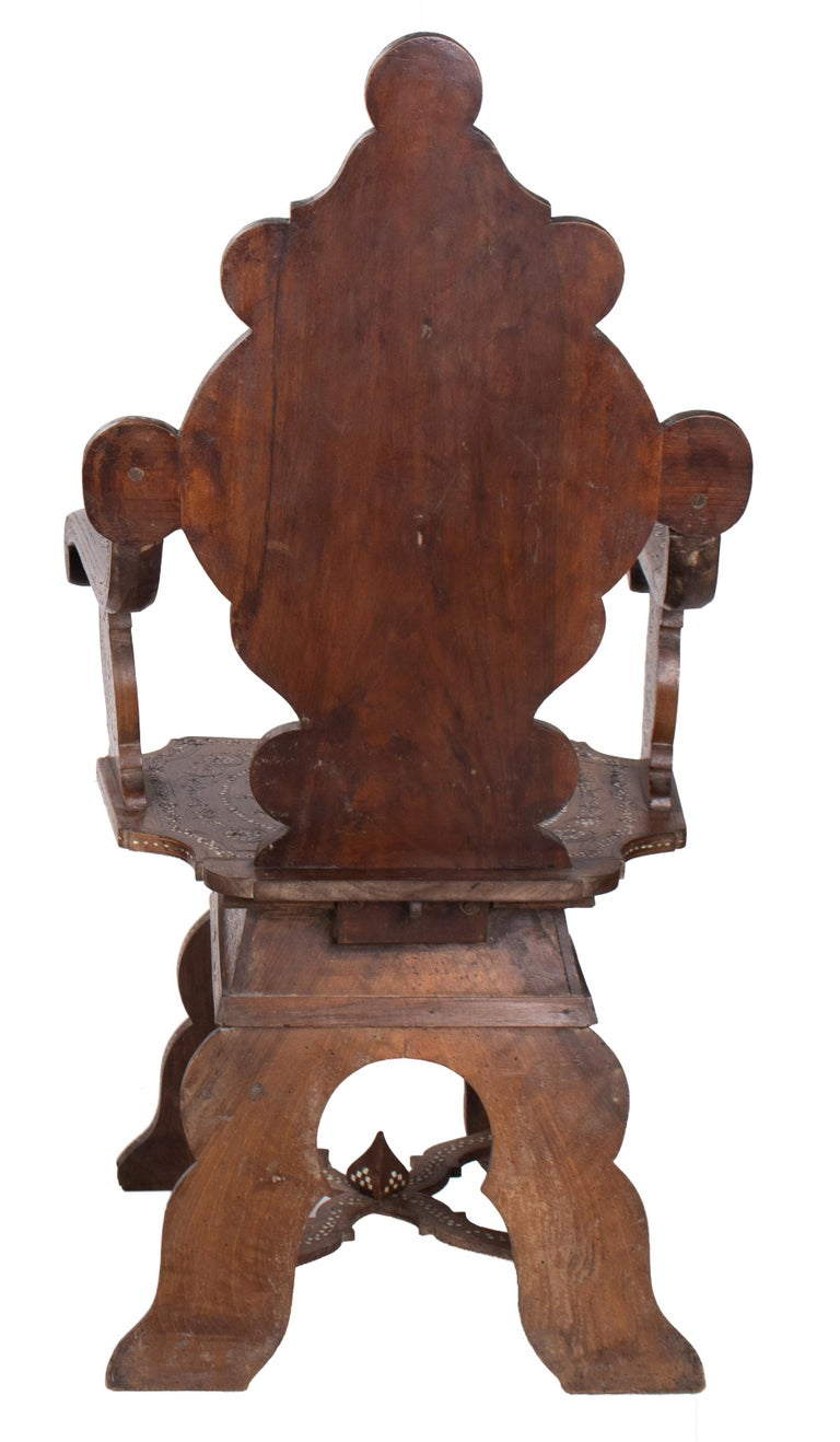 Wood 19th Century Italian Hand Carved Inlaid Armchair For Sale