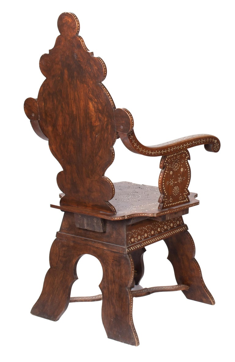 19th Century Italian Hand Carved Inlaid Armchair For Sale 1