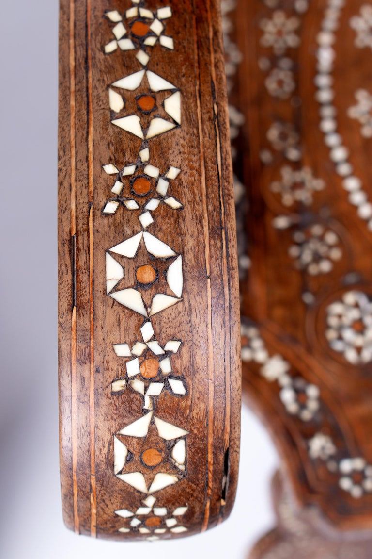 19th Century Italian Hand Carved Inlaid Armchair For Sale 2