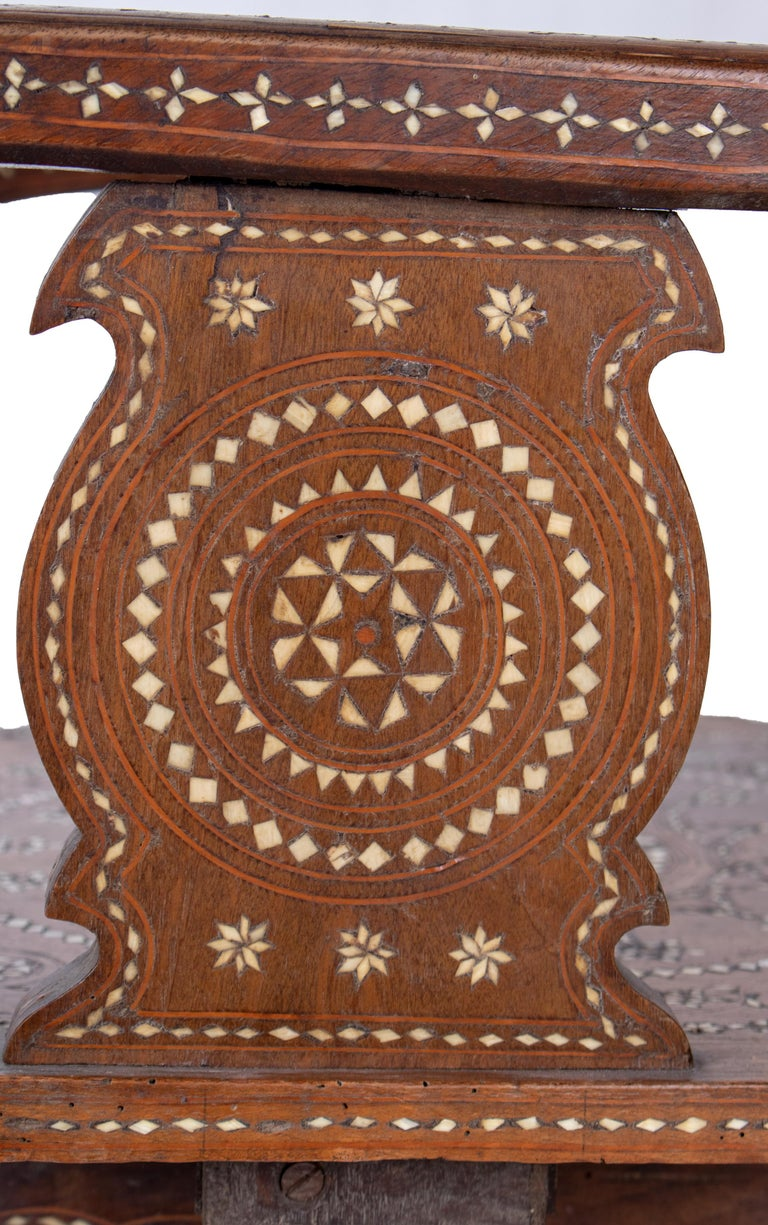 19th Century Italian Hand Carved Inlaid Armchair For Sale 3