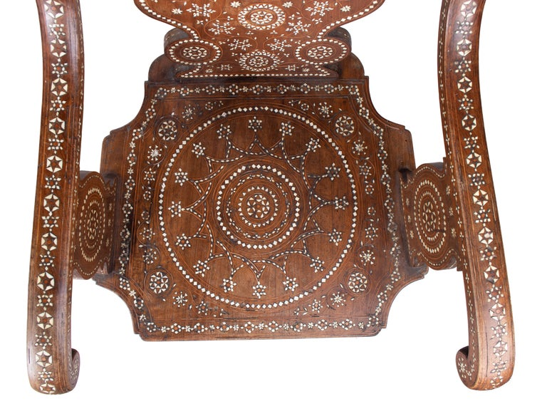 19th Century Italian Hand Carved Inlaid Armchair For Sale 4