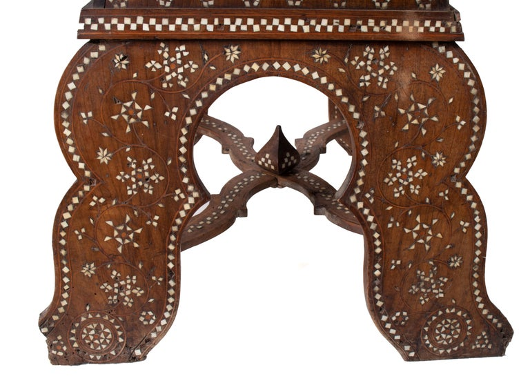 19th Century Italian Hand Carved Inlaid Armchair For Sale 5