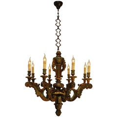 19th Century Italian Hand-Carved Polychrome Eight-Light Chandelier