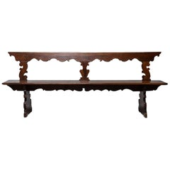 19th Century Italian Hand Carved Primitive Bench