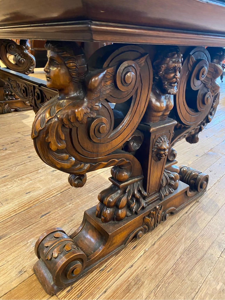19th Century Italian Hand Carved Walnut Table For Sale 7