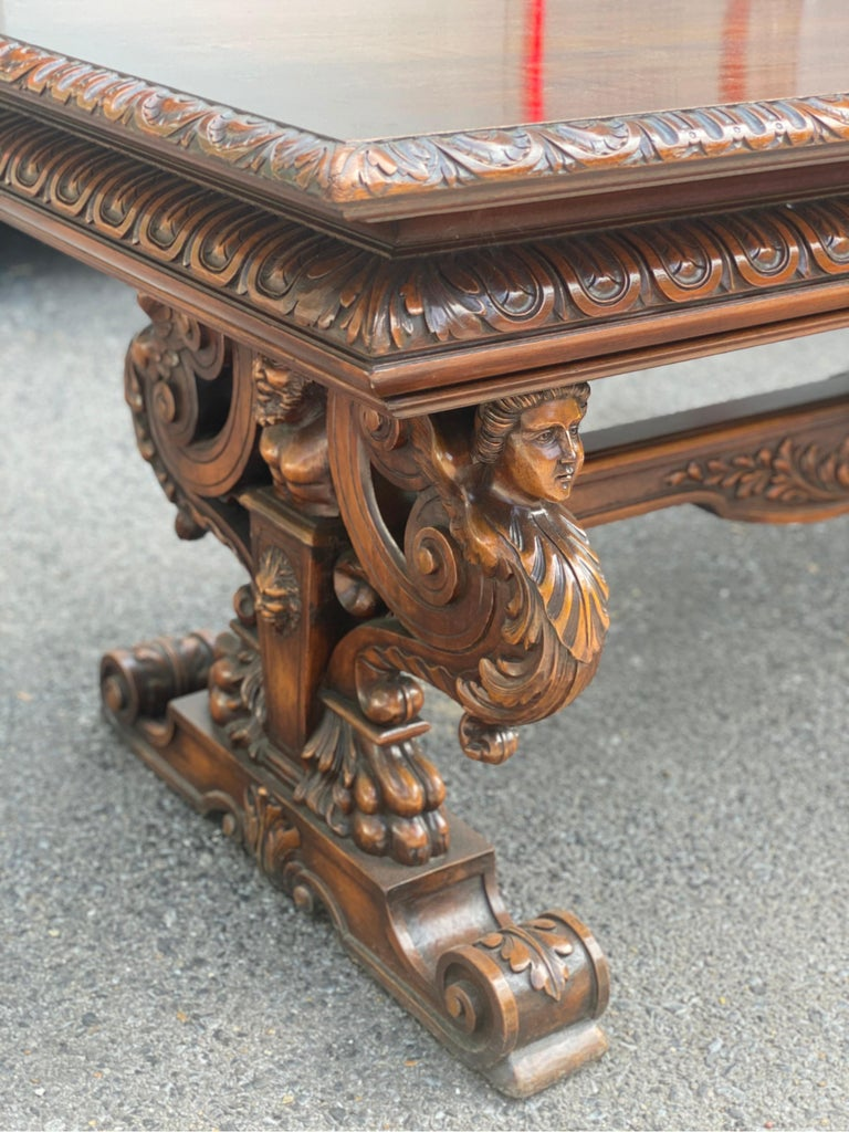 19th Century Italian Hand Carved Walnut Table For Sale 9