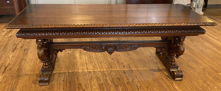 19th Century Italian Hand Carved Walnut Table For Sale 1