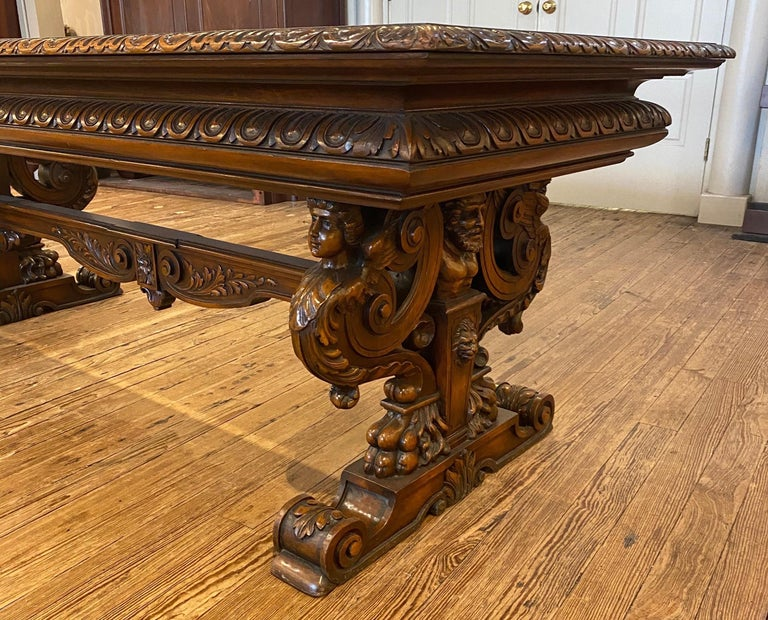 19th Century Italian Hand Carved Walnut Table For Sale 2