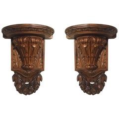 19th Century Italian Hand-Carved Walnut Wall Brackets