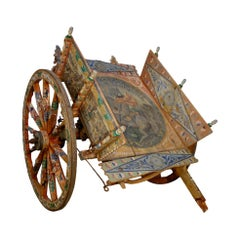 19th Century Italian Hand Painted Carretto Sicilian Cart, Cultural Art Form