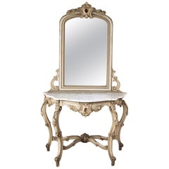 19th Century Italian Hand Painted Console and Mirror with Cararra Marble