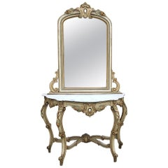19th Century Italian Hand Painted Console and Mirror with Carrara Marble
