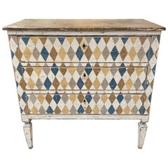19th Century Italian Hand Painted Multicolored Commode