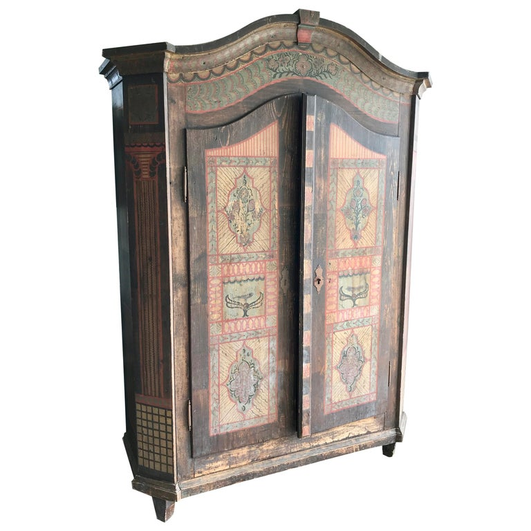 19th Century Italian Hand Painted Side Cabinet / Armoire For Sale